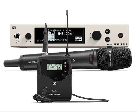 Sennheiser G4 300 Series (Ch.38) single unit – supplied with ME2-US Lavalier / Tie Clip or 835 handheld microphones.