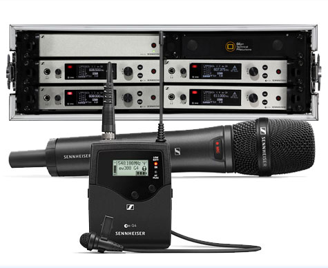 Sennheiser G4 300 Series (Ch.38) 4-way rack – supplied with ME2-US Lavalier / Tie Clip or 835 handheld microphones, aerial distribution, aerials, cables and stands.
