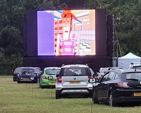 Drive-in cinema screen structures by OTP, Wallingford, Oxfordshire