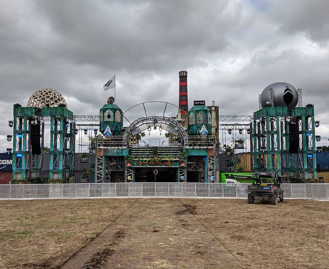 Layher structure for The Grid stage at Boomtown by OTP, Didcot, Oxfordshire