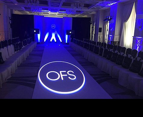 Lighting and gobo projection at fashion show.