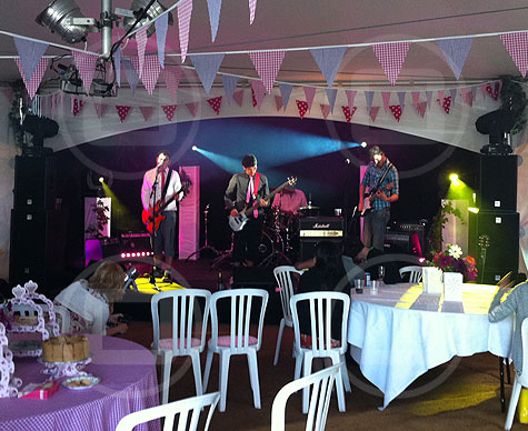 Stage for wedding band.