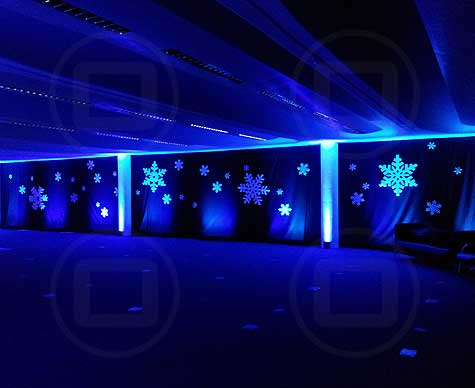 Giant snowflake Christmas party decor; corporate party.