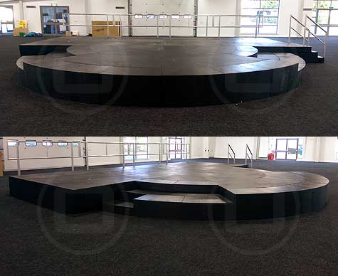 Tiered semi-circular LiteDeck with custom components.