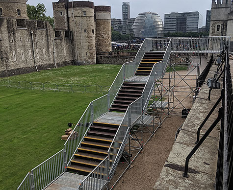 Access stairs under construction at the Tower of London.