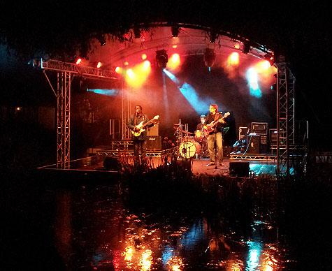 Stage over water at Sunningwell Festival